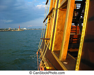 View to the sea and coast from the wooden ship - View to the...