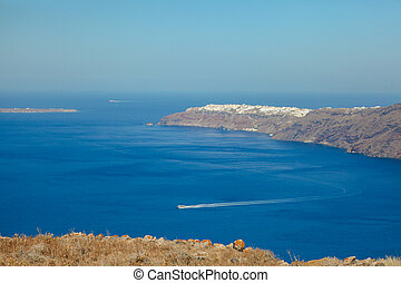 View To The Sea And Volcano From Oia Santorini Island In Greece
