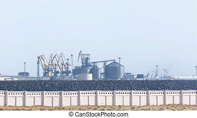View to the seaport timelapse in city of Aktau Kazakhstan