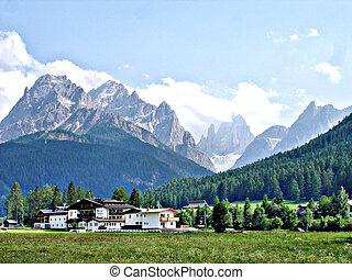 View to the Sexten Dolomites
