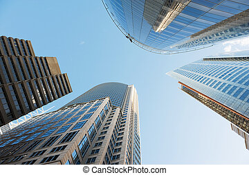 skyscrapers of Sydney - view to the sky surrounded by ...