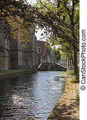 View to the street in the historic center of Delft