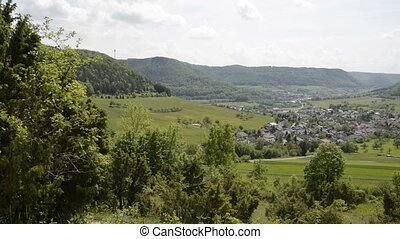 View to the Swabian Alb, an UNESCO nature protection area in...