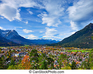 View to the town Garmisch-Partenkirchen autumn