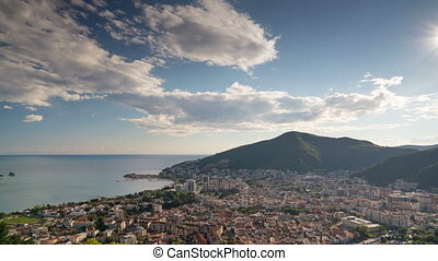 view to the Town od Budva in Montenegro, time lapse