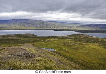 View to Vesturhopsvatn (Vesturhop lake) from Borgarvirki (columnar basalt fortress) on Vatnsnes peninsula in North Iceland