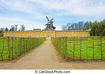 View to wind mill in Sanssouci Park in Potsdam