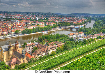 View to Wurzburg from Marienberg Fortress (Castle), Wurzburg, Bayern, Germany