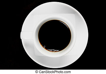 View top of black coffee cup