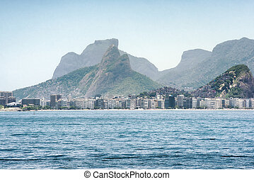 View toward Copacabana beach and the mountainous landscape in Rio de Janeiro, Brazil