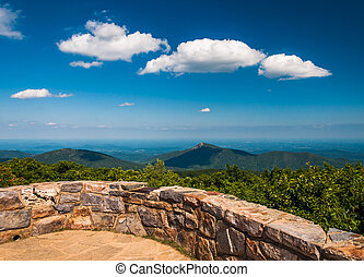 View toward Old Rag from the Observation Deck on Hawksbill Summit, Shenandoah National Park, Virginia.
