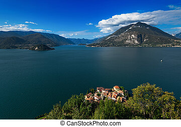 View towards Bellagio division between lake branch of Lecco and Como with the houses of Varenna