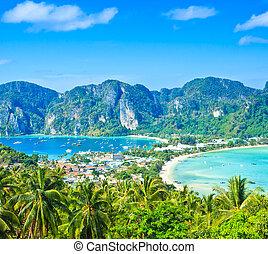 View tropical island with resorts - Phi-Phi island, Krabi Provin