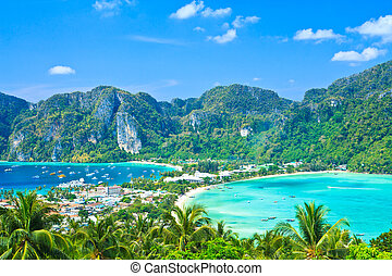 View tropical island with resorts - Phi-Phi island, Krabi...