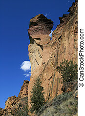 monkey face rock spire - view up at monkey face rock spire...