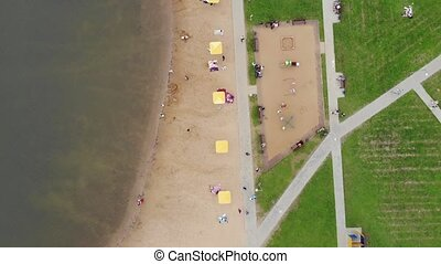 view vertically from top of beach near pond in Zelenograd,...