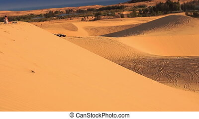 View White Sand Dune Hills with Tracks - panorama of white...