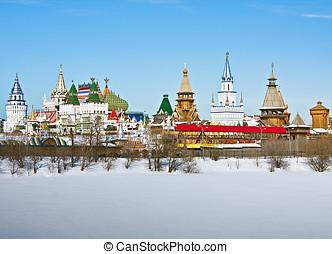 view winter Izmailovo Kremlin in Moscow - view winter...