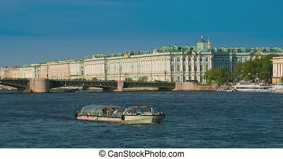 View Winter Palace in Saint Petersburg from Neva river.