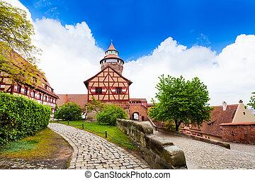View with Sinwellturm on Kaiserburg, Nuremberg