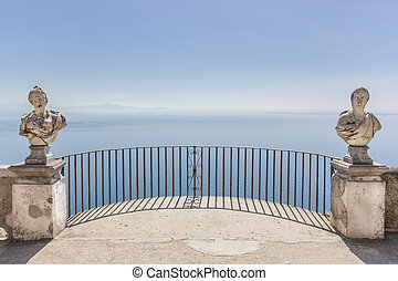 View with statues from the city of Ravello, Amalfi Coast, Italy, Europe