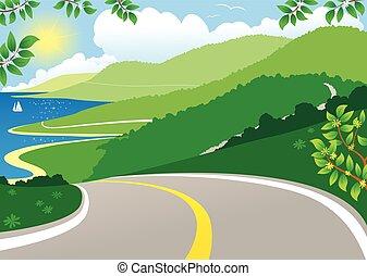 view.eps, côtier, autoroute