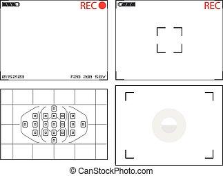 viewfinder, câmera, vídeo, monitores, ilustração