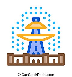 viewing fountain icon vector outline illustration - viewing ...