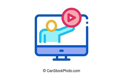 viewing in computer mode Icon Animation. color viewing in computer mode animated icon on white background