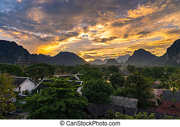 Viewpoint and beautiful Landscape in sunset at Vang Vieng, Laos.