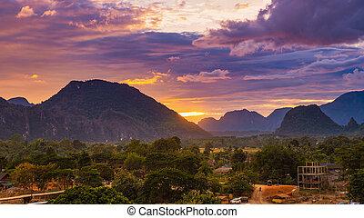 Viewpoint and beautiful sunset at Vang Vieng, Laos.