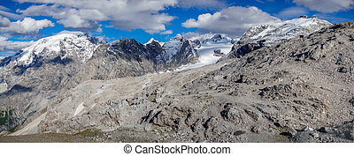 Viewpoint in Stelvio pass, big panorama - Panoramic view of ...