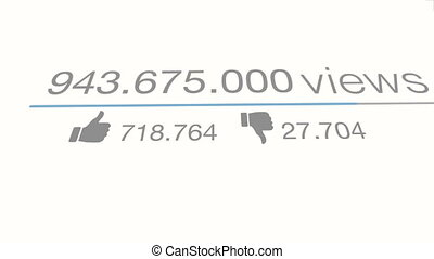 youtube views video counter quickly increasing to 1 Billion views. Flat version.