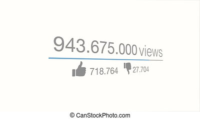Views counter. A close up quickly increasing to 1 Billion...