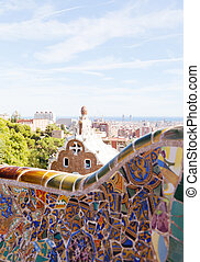 Views from the Parc Guell designed by Antoni Gaudi, ...
