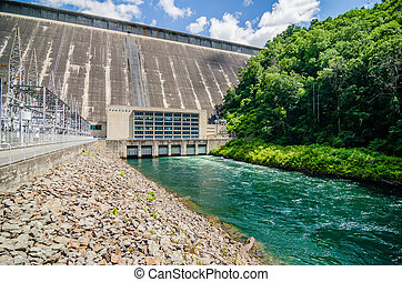 views of man made dam at lake fontana great smoky mountains...
