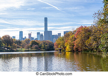 Views of middtown from The Lake In central Park