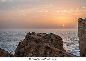 Views of the Atlantic Ocean with a sunset