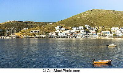 Views of the Bay and Kythnos Greek island.