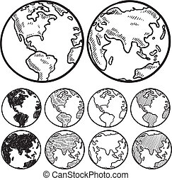 Views of the earth sketch - Doodle style perspectives on the...