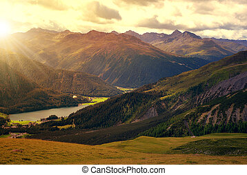 Views of the lake Davos at sunrise. Canton Graubunden,...