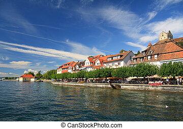 Views of the waterfront of Lake Constance. Meersburg.