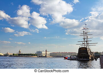 Views of the waters of the River Neva, the spit of ...
