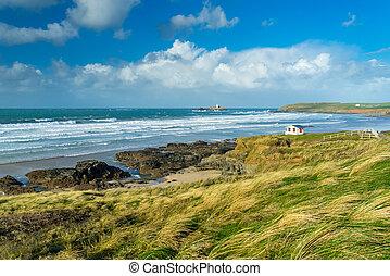 Gwithian Cornwall England UK - Views toward Godrevy Island...