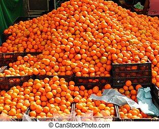 vif, citrus, mandarines, orange, monticule, marché