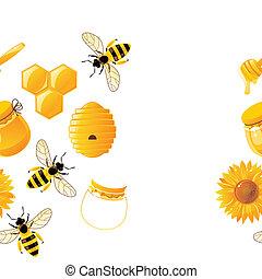 vif, dessin animé, abeilles, et, miel, seamless, modèle,...
