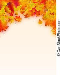 vif, feuilles, text., automnal, cadre, ton