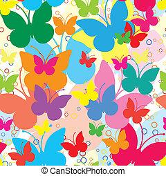 vif, seamless, fond, à, papillons, vecteur, illustration