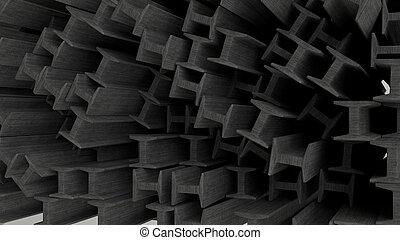 vigas, construção, metal, render, 3d