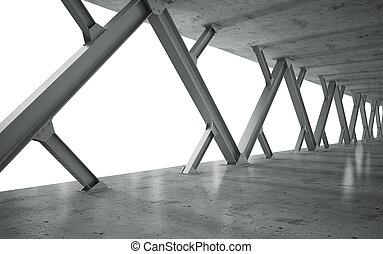vigas, estrutura concreta, monocromático